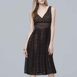 WHBM Shadow Stripe Fit-And-Flare Dress. Sz 16